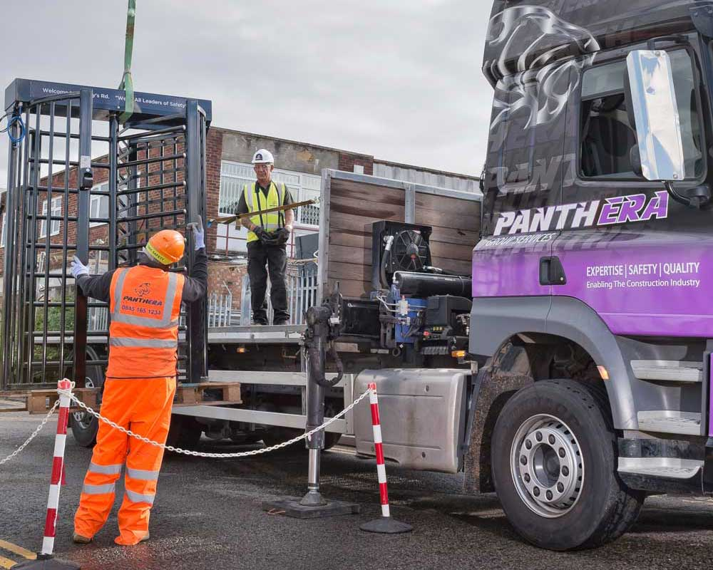 Turnstile being unloaded from a lorry