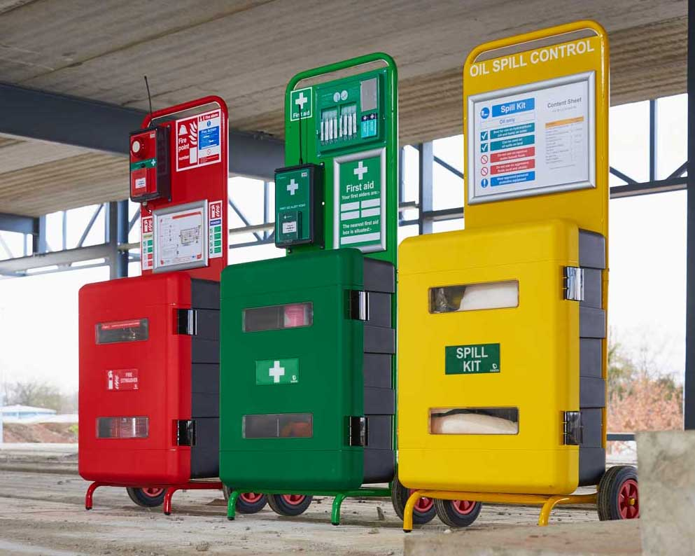 Red, Green, and Yellow emergency boxes